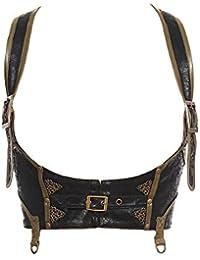 """Cintura a bretelle serra misura, colore: nero con bordo, colore: marrone, """"steampunk"""" RQBL"""