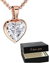 Collares de corazón para mujer oro rosa I love you regalos para novia collar colgante (