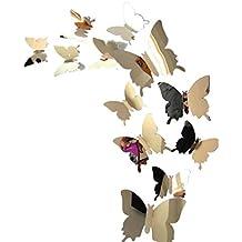 Pegatinas de pared Decal Butterflies 3D Mirror Wall Art Home Decors para Pegatina Pared, Cristal, Puerta Xinantime