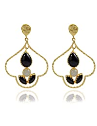 The Bohemian E2609-424 Black/White Ribbed Dome Alloy Gold Plated Dangle & Drop Earring For Women