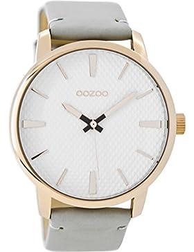 Oozoo Damenuhr mit Lederband 45 MM Rose/Weiss/Grau C9020