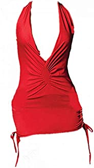 Deep V Neck Backless Strap Dress Lingerie Costume Party Nightwear Red