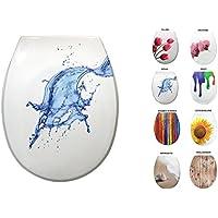 Sanwood 6162700Siège de toilette WC en Duroplast avec système d'abaissement automatique Soft Close, Aqua, 45,6x 37x 5,5cm