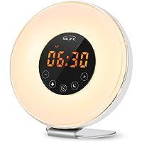 INLIFE Wake Up Light, Despertador de Luz, con 7 Colores Ajustables, 6 Sonidos Naturales y 10 Intensidades de Luz, Radio FM, Control Táctil, Función de Snooze, Simulación de Amanecer y Atardecer, Cargador de USB (6 Sonidos naturales) (Versión E9)