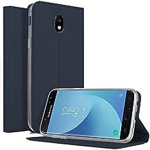 Funda Samsung Galaxy J5 2017 Carcasa, KuGi Slim Flip Cover Carcasa Cubierta de cuero PU Multi-Angle Shockproof Silicio Protectora de Carcasa con Soporte Plegable para Samsung Galaxy J5 2017 Smartphone(Slim Book Series - azul)