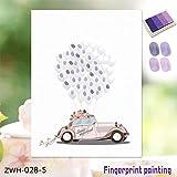 Leinwand Fingerabdruck Gästebuch Schöne Hochzeit Auto Finger Malerei DIY Geburtstagsfeier Dekoration Mit Stempelkissen-Lila