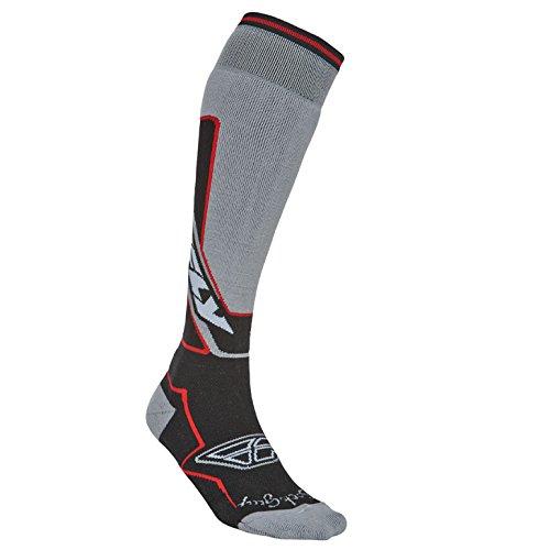 Fly 2014 Motocross / MTB Socken - En Dick Grau/Schwarz/Rot: Größe Socken: S