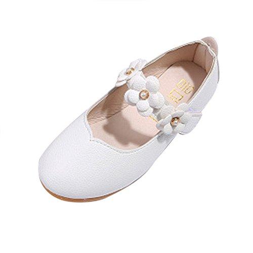 Dorical Baby Mädchen Prinzessin Modisch Kinderschuhe mit Klettverschluss/Kind Elegant Blumen Weich Einfarbig Freizeit Tanzschuhe Kunstlederschuhe Kleinkind Bequem Süß Schuhe(Weiß,23 EU)
