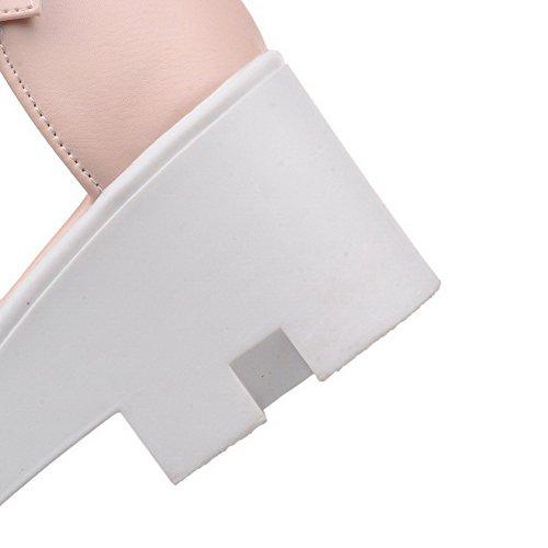 VogueZone009 Femme Boucle Ouverture D'Orteil à Talon Correct Pu Cuir Couleur Unie Sandales Rose