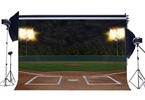 EdCott Baseball Feld Nachtsicht Hintergrund 7X5FT Outdoor Sportplatz Kulissen Glänzende Straßenlaternen Grünes Gras Wiese Stadion Fotografie Hintergrund für Jungen Sportler Fotostudio Requisiten