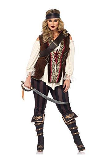 4 teilig Set Kapitän Blackheart, Damen Karneval Kostüm Fasching, 3X-4X, mehrfarbig (3x Kostüm)