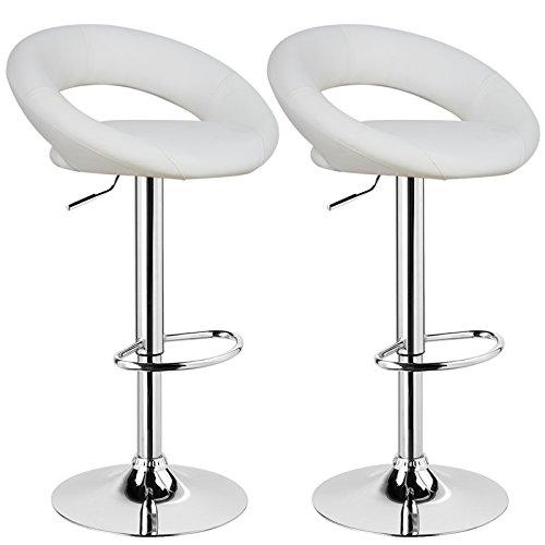WOLTU Design 2 x Barhocker Tresenhocker mit Griff , 2er Set , stufenlose Höhenverstellung , verchromter Stahl , Antirutschgummi , pflegeleichter Kunstleder , gut gepolsterte Sitzfläche , Farbwahl (BS9117 Weiß)