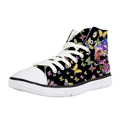 Mens Sneakers Cool Black Skull Canvas Plimsolls Hi Tops Walking Shoes Soft Pumps Black+Butterfly CC3532AK 8