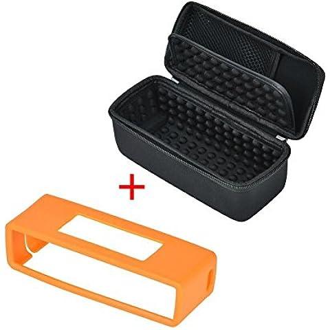 Rightwell Duro Estuche De Transporte/La Bolsa De Viaje Con Cubierta Suave De TPU Para Bose Soundlink Mini I II Altavoz Inalámbrico Bluetooth(Negro+Naranja)