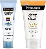 Neutrogena Ultra Sheer Dry Touch Sunblock, SPF 50+, 30ml & Deep Clean Foaming Cleanser, 50g Combo