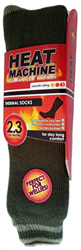 Heat Machine Thermo-Socken OLive green with stripes 6-11 (Gold Liner Toe)