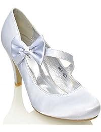 Essex Glam - Damen Braun Stiletto Pumps Weiß Elfenbein Satin Hochzeit  Brautjungfer Schuhe 7004b185ff
