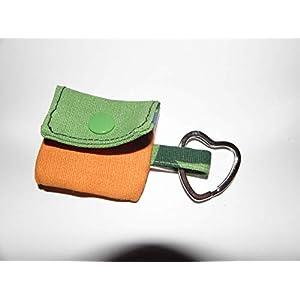Grün oranges Einkaufschip Täschchen, Schlüsselanhänger, Minitäschchen – handmade