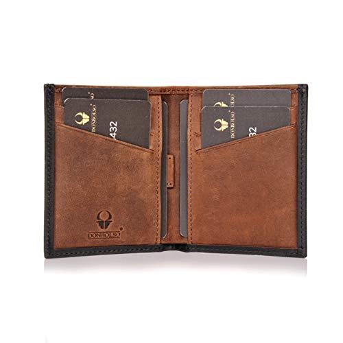 DONBOLSO Geldbörse Bari Leder I Geldbeutel mit RFID Schutz I Portemonnaie für Herren und Damen I Slim Wallet