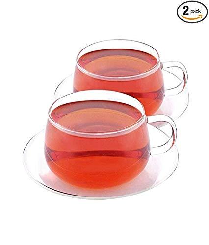 VAHDAM, Glitter - Set de 2 tasse originale et soucoupe | Ensembles de tasse à thé et soucoupes à thé en verre borosilicate | Capacité de 250 ml - DURABLE - tasse a the (4 pièces) | Tasses à café