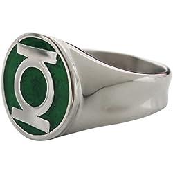 Hombre Acero Inoxidable DC Comics Linterna verde anillo con un diseño clásico verde esmalte Inlay