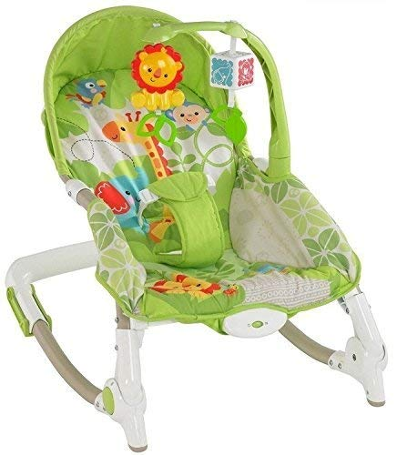 Tiny's World Newborn to Toddler Portable Rocker Bouncer with Selectable Vibrator Mode and Toys, 1-2 Years (Green)