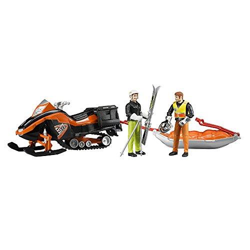 Bruder 63100 - Snowmobil mit Fahrer, Akia-Rettungsschlitten und Skifahrer (Polnische Schlitten)