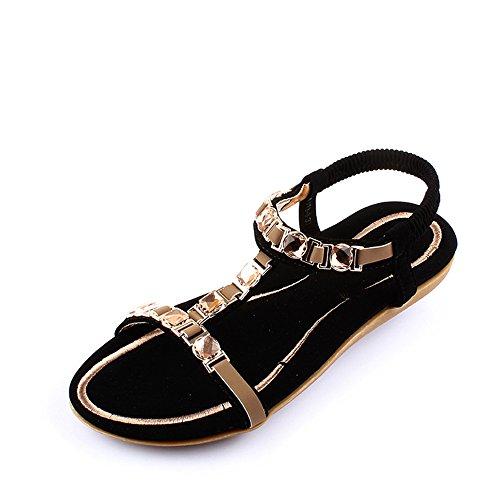 Pente avec sandales à talons hauts à bascule --- Sandales Femme Été PU Casual Talon Plat Beige / Noir --- Herringbone fashion sweet Sandals Noir