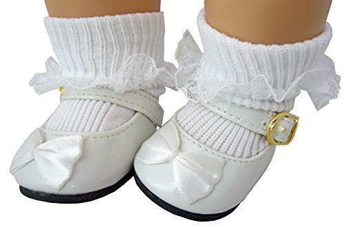 White Patent Mary Jane Shoes with Satin Bows & White Lace Trim Socks For 15 Bitty Baby Dolls & Bitty Twins by Doll Clothes Sew Beautiful -
