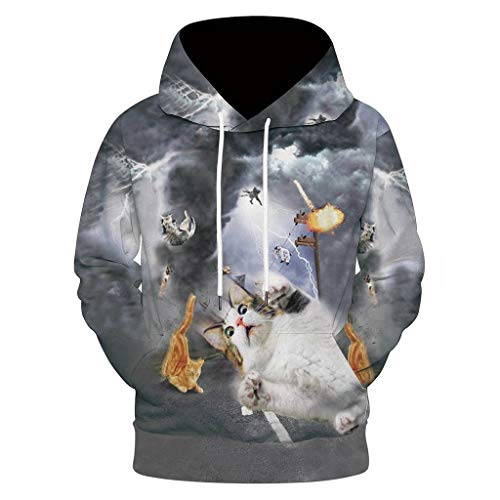 VBWER Unisex Kinder Jungen Mädchen Lustig Hoodies Kapuzenpullover Coole 3D Grafik Drucken Sweatshirts Langarm Sweater Pullover Hooded (Stunden T-shirt Youth)