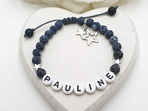 Namensarmband, Armband Indischer Achat, Armband Makramee, Achatarmband, Perlenarmband Liebe, Geschenk Herzensmensch