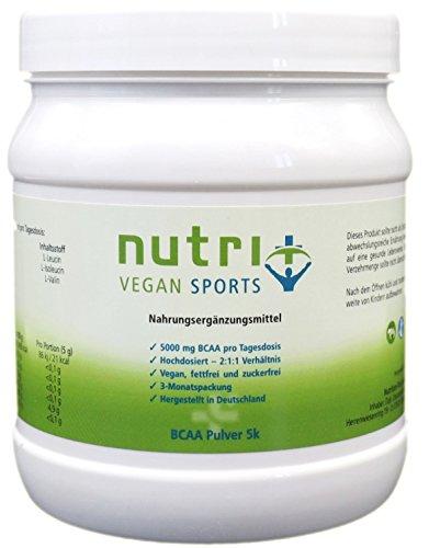 Veganes BCAA PULVER 500g Neutral ohne Zusatz & Süßstoff - 2:1:1 - 99,7% WIRKSTOFF - HÖCHSTE DOSIERUNG - unflavoured - essentielle Aminosäuren - Nutri-Plus Vegan