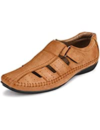 El Paso Men's Synthetic Leather Tan Velcro Casual Sandals
