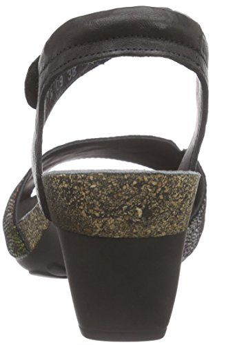 Think - Traudi Sandalen, Scarpe col tacco con cinturino a T Donna Nero (Nero (SZ/KOMBI 09))