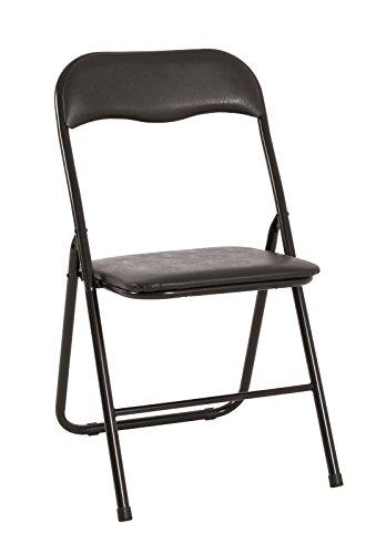 Haku Klappstuhl im 6er Set Maße (B/T/H) in cm: 44 x 46 x 81 aus schwarzem Stahlrohr mit schwarzem PVC-Sitz