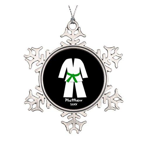 Taekwondo Karate Gürtel Grün Personalisierte Runde Keramik Weihnachten Ornament