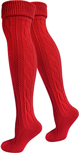 normani 2 Paar Oktoberfest Kniestrümpfe Trachten Socken EXTRA LANG aus Baumwolle Farbe Rot Größe 39/42 -