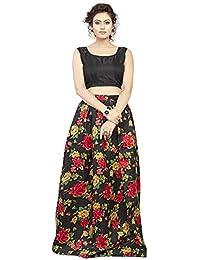 2d186790d1 Zaalima Fashion Women s Floral Printed Silk Semi-Stitched Lehengha choli  (blackgreen
