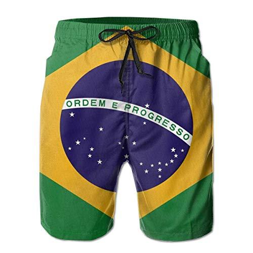 akingstore Herren Badehose Sommer 3D Print Brasilien Flagge Grafik lässig sportlich Schwimmen Short