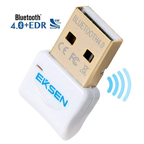 Bluetooth CSR 4.0 USB Dongle Adapter, EKSON Bluetooth Transmitter und Empfänger für Windows 10/8.1/8/7/Vista - Plug and Play auf Win 7 und höher. weiß Bluetooth-headset Audio Gateway