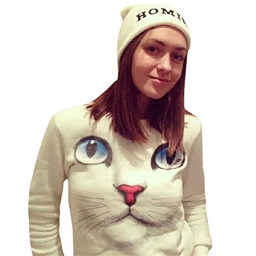 Femmes Perles 3D Chat Sweat-shirt O cou Pullovers Manche longue Chemisier Tops Blanc