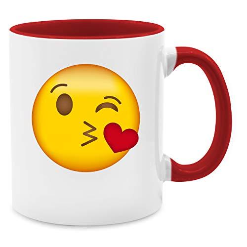 Statement Tasse - Emoji Kuss-Mund - Unisize - Rot - Q9061 - Kaffee-Tasse inkl. Geschenk-Verpackung (Kaffee Tasse Kostüm)