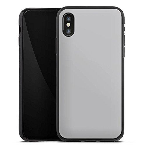 Apple iPhone X Silikon Hülle Case Schutzhülle Graphit Grau Grey Silikon Case schwarz