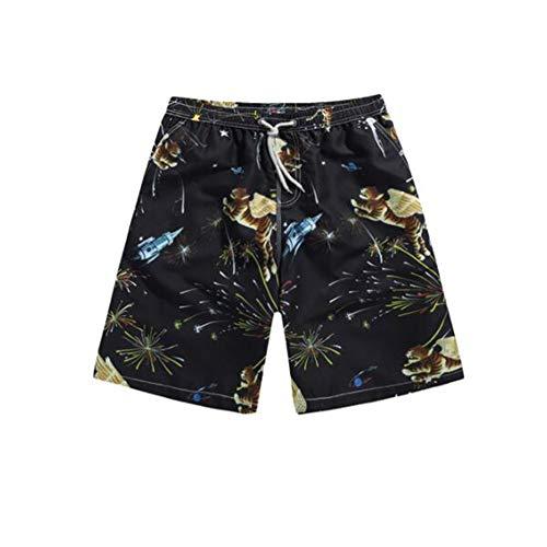 horts Polyesterfaser Sport Bequem Freizeit Urlaub Seaside Shorts Tiger Muster (Farbe : SCHWARZ, größe : L) ()