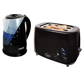 7f7bdeecdeae 1.7l 2200w Dual Illumination Cordless Black Kettle + Wide 2 Slice 850W  Black Toaster Set