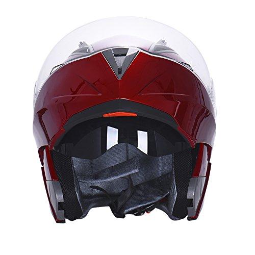 Hjuns Motorradhelm Integralhelme mit Visier - für Offroad/Enduro/Touring Sport (L, Red) - 3