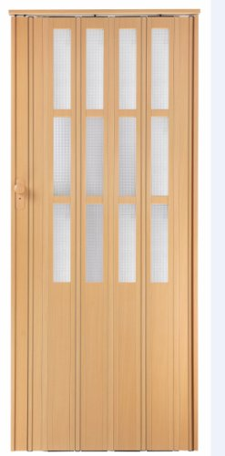 Falttür Schiebetür buche farben mit Schloß - Schlüssel und Fenster Höhe 203 cm Einbaubreite bis 85 cm Doppelwandprofil Neu