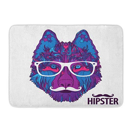 Badematte Blue Portrait Gesicht von Hipster Dog mit weißem Schnurrbart und Brillen Logo für mit Pink Animal Badezimmer Dekor Wolldecke