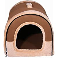Nowakk Pet House Brown Dog Bed Mascotas Gatos Sofá Cojín Suave Lavable Cómoda Dormir Perrera para Pequeño Tamaño Mediano Pet Supplies