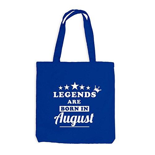 Jutebeutel - Legends are born in August - Birthday Gift Royalblau